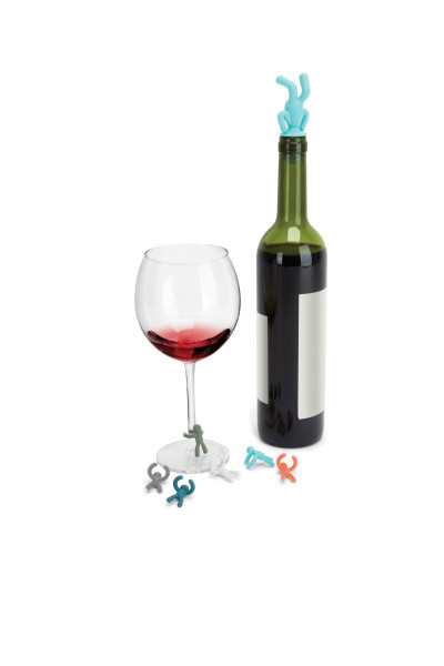 Umbra Drinking Buddy Charms and Topper 6 glass markers and 1 wine stopper