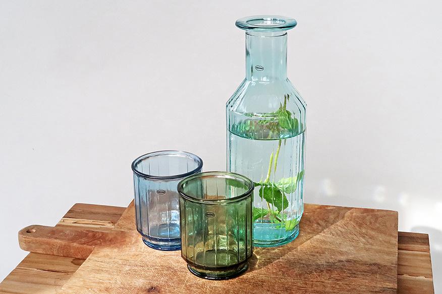 Cabanaz Faceta Decanter gerecycled glas blauw 1,1 Liter