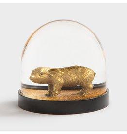 &Klevering Glitterbol Varken goud