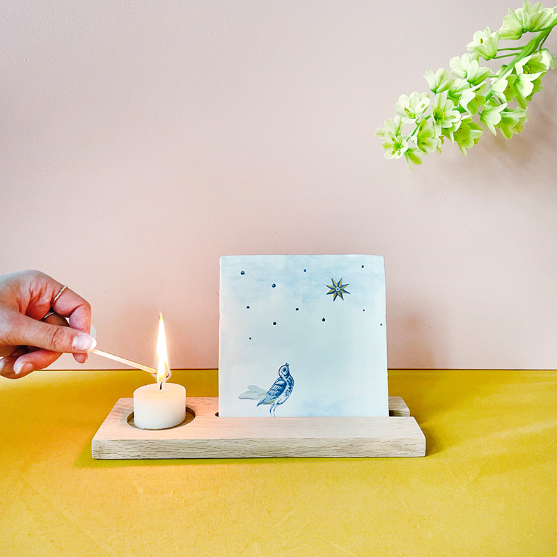 Storytiles  Wooden Tile and Candle Holder for a loved one to remember