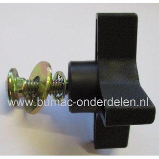 Knop voor vastzetten van Hoogteinstelling Grasveger 14-001 Knop met drukpkaat, Sluitplaat en Borstbout