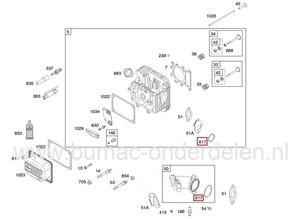 Inlaatpakking voor Spruitstuk Briggs and Stratton Motor Dichting voor onder andere 12,5 Pk IC Motor 219870-0371-E1