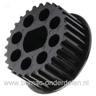 Getande Poelie op as Elektromotor van MTD VE40 Verticuteermachine, Pouly voor Messen Aandrijving MTD VE 40 Verticuteerder