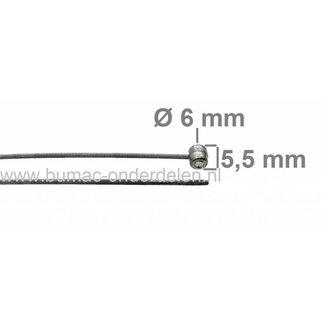 Flexibele Kabel met Ton 6 x 5,5 mm  voor Koppelingskabel, Versnellingskabel, Gaskabel, Motorremkabel, Bedieningskabel voor Grasmaaiers, Zitmaaiers, Verticuteermachines, Kooimaaiers, Tuinfrees, Hakfrees Universele Kabel