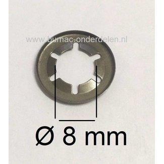 10 Stuks Asklemring  - Starlock Borgring Binnen Ø 8 mm - Buiten Ø 15 mm voor Grasmaaier, Zitmaaier, Frontmaaier, Quad, Tuintrekker, Kooimaaier, Tuinfrees, Minikraan, Werktuigen Verpakt per 10 Stuks