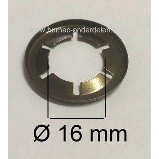 10 Stuks Asklemring - Starlock Borgring Binnen Ø 16 mm - Buiten Ø 28 mm voor Grasmaaier, Zitmaaier, Frontmaaier, Quad, Tuintrekker, Kooimaaier, Tuinfrees, Minikraan, Werktuigen Verpakt per 10 Stuks