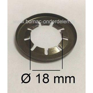 10 Stuks Asklemring - Starlock Borgring Binnen Ø 18 mm - Buiten Ø 37 mm voor Grasmaaier, Zitmaaier, Frontmaaier, Quad, Tuintrekker, Kooimaaier, Tuinfrees, Minikraan, Werktuigen Verpakt per 10 Stuks