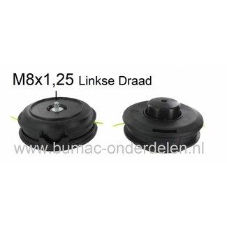 Draadkop TAP-N-GO voor Bosmaaier Aansluiting Linkse Draad M8x1,25 Maaikop met Tip Toets voor Draad Verlenging, Maaidraad 2,4 mm Motorstrimmer, Bermmaaier, Motorzeis