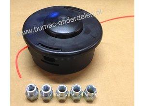 Draadkop TAP-N-GO voor  Stihl, Husqvarna, Jonsered, Echo Bosmaaiers met een Vermogen van 35 cc of Meer, Geleverd met 5 Adapters M10x1,00, M10x1,25, M12x1,5, M12x1,75, M14x1,5 Linkse Draad Stihl FS220, FS240, FS250, FS260, FS260C-E, FS280, FS290, FS310, FS