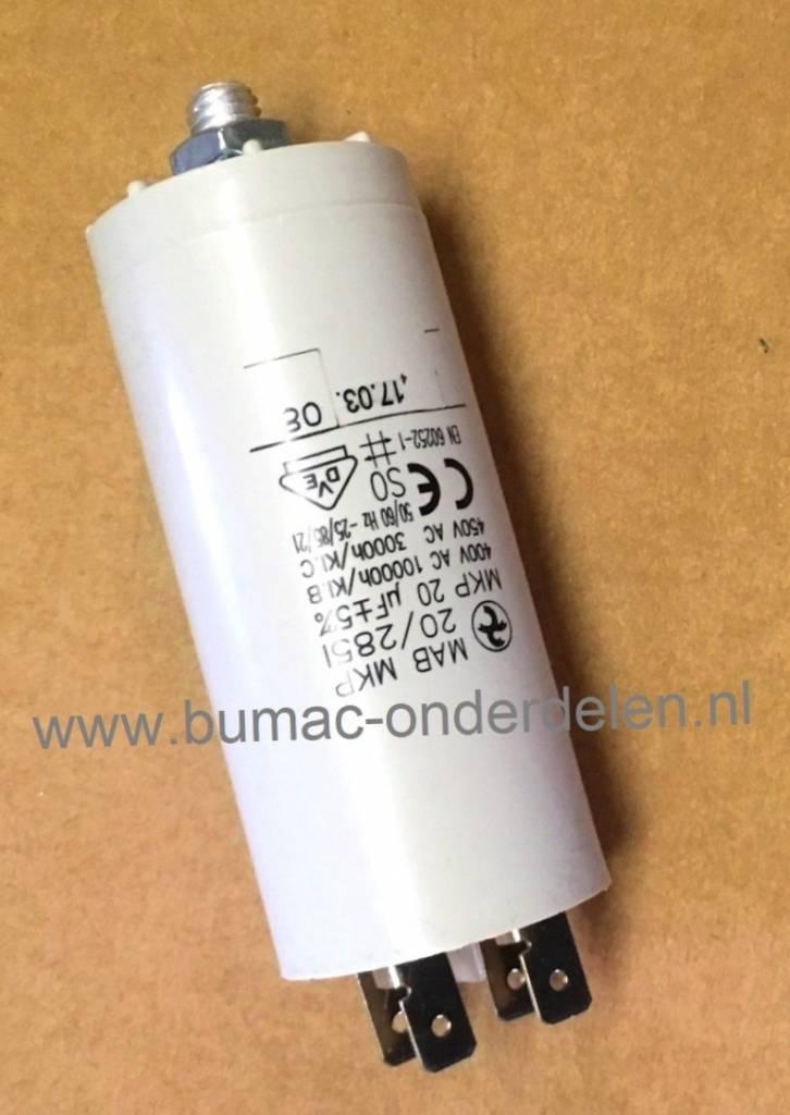 Fabulous Condensator 20 µF, M8, 230 Volt voor Elektrische Grasmaaier IT49