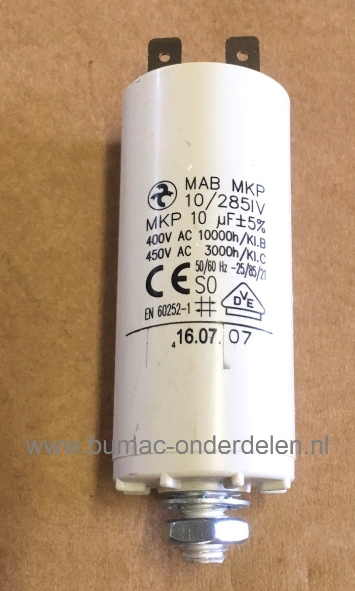 Extreem Condensator voor Elektrische Grasmaaier 10 µF - M8 - Max 400 Volt NM89