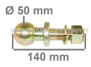 Trekhaakkogel Recht voor Zitmaaier, Frontmaaier, Tuintrekker, Quad Kogel 50 mm Lengte 140 mm Aansluiting 25,4 mm Kogel Koppeling , Kogeltrekpen