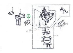 Inlaatpakking voor LONCIN  G160F, G200F, G200FD, G200FQ, LC168F-1, LC168F-2, LC168F-2H Dichting voor Carburateur op Loncin motoren Aggregaat, Generator, Grasmaaier, Houtversnipperaar, Tuinfrees, Verticuteermachine, Waterpomp, Veegmachine