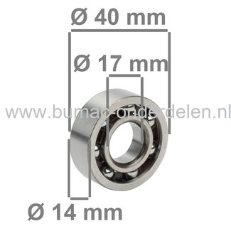 Krukaslager voor Stihl 064, 066, MS640, MS650, MS660 Kettingzaag, Motorzaag, STIHL Groefkogellager 17x40x14 mm voor Motorkettingzagen 064, 066, MS 640, MS 650, MS 660