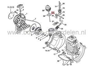 Tankontluchter voor Stihl Bosmaaiers, Heggenschaar, Stokzaag, Trimmers, Kantensnijders, Multitool, STIHL Ontluchtingsventiel voor Benzinetank FC100, FC110, FC56, FC70C, FC90, FC95, FR130, FS40, FS50, FS55, FS56, FS70, FS87, FS90, FS91, FS91R, FS100, FS110