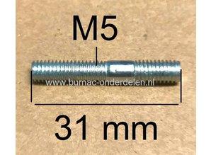 Tapeind voor Bevestigen van Afdekkap Stihl Kettingzaag 024, 026, 034, 036, 042, 048, 088, MS240, MS260, MS340, MS341, MS360, MS361, MS880 Draadeind M5 x 31 mm Lengte voor Cilinderdeksel