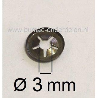10 stuks Asklemring - Starlock Borgring Binnen Ø  3 mm, Buiten Ø 11 mm voor Grasmaaier, Zitmaaier, Frontmaaier, Quad, Tuintrekker, Kooimaaier, Tuinfrees, Minikraan, Werktuigen Verpakt per 10 Stuks