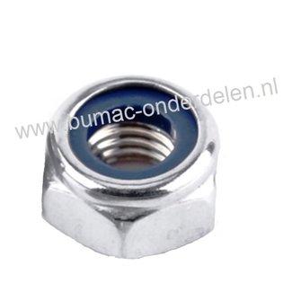 Borgmoer  staal verzinkt, Zelfborgende zeskantmoer M5x0.8, voorzien van een nylon ring om de moeren te borgen tegen loslopen/lostrillen,  Draaddiameter M5,  Schroefdraad M5 x 0.8, Sleutelmaat 8,  Hoogte 5 mm, Klasse 8.8