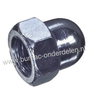 Zeskant Dopmoer verzinkt hoog model schroefdraad. M4 x 0,7 , Sleutelmaat 7 mm, Hoogte 8 mm