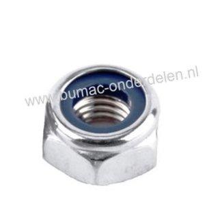 Borgmoer  staal verzinkt, Zelfborgende zeskantmoer M10x1.50, voorzien van een nylon ring om de moeren te borgen tegen loslopen/lostrillen,  Draad diameter M10,  Schroefdraad M10 x 1.50, Sleutelmaat 17 mm,  Hoogte 6,5 mm