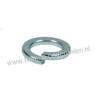 Veerring M10 verzinkt, ring met opstaand vlak uiteinde gemaakt van veerstaal,  Binnendiameter Ø 10,5 mm, Buiten diameter Ø 17,4 mm, Dikte 2,3 mm,  DIN 127B.