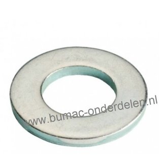 Sluitring M6 verzinkt, Vlakke sluitring zonder afschuining, Binnendiameter Ø 6,6 mm, Buiten diameter Ø 11,8 mm, Dikte 1,6 mm,  DIN 125A