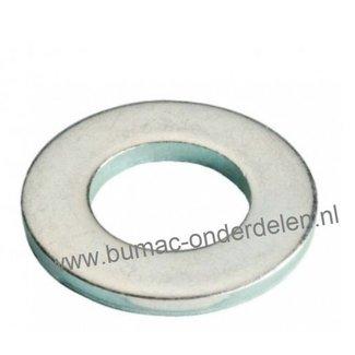 Sluitring M8 verzinkt, Vlakke sluitring zonder afschuining, Binnendiameter Ø 8,4 mm, Buiten diameter Ø 15,6 mm, Dikte 1,4 mm,  DIN 125A