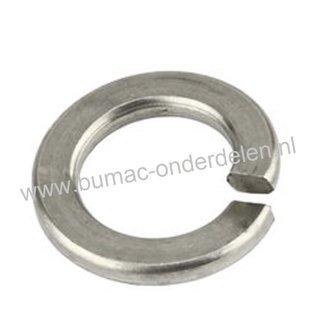 RVS Veerring M4, ring met opstaand vlak uiteinde gemaakt van RVS Veerstaal, Binnendiameter: 4,4 mm, Buitendiameter: 7,6 mm, Dikte: 0,9 mm, DIN 127