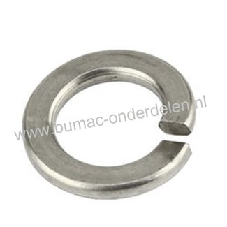 RVS Veerring M5, ring met opstaand vlak uiteinde gemaakt van RVS Veerstaal, Binnendiameter: 5,4 mm, Buitendiameter: 9,2 mm, Dikte: 1,2 mm, DIN 127