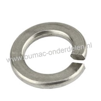 RVS Veerring M16, ring met opstaand vlak uiteinde, gemaakt van RVS Veerstaal, Binnendiameter: 16,2 mm, Buitendiameter: 27,4 mm, Dikte: 3,5 mm, DIN 127