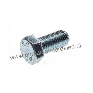 Zeskantbout met volledige schroefdraad, verzinkt, metrische schroefdraad. Bout M8 x 40, sleutelmaat: 13, DIN 933