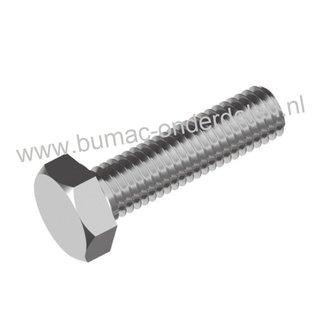 Zeskantbout  M10x40  RVS met volledige metrische schroefdraad. Bout M10 x 40 sleutelmaat: 17, DIN 933