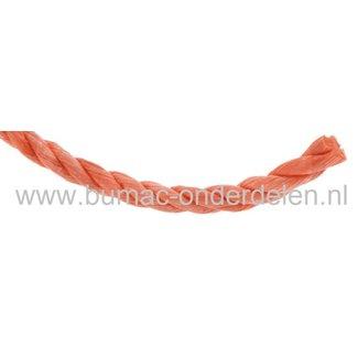 Nylon Touw 12 mm Gedraaid, Oranje, Polypropyleen Koord te gebruiken als onder andere Bindtouw, Trektouw of Klimtouw, Treksterkte 9,81 kN, Maximale Belasting 253 Kilogram, Koord, Schommel Touw