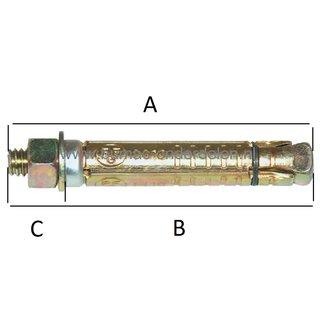 Keilbout M10x100x50 mm Verzinkt voor Middelzware en Zware Bevestigingen in Beton en Steen
