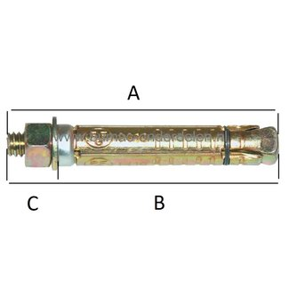 Keilbout M12x120x60 mm Verzinkt voor Middelzware en Zware Bevestigingen in Beton en Steen