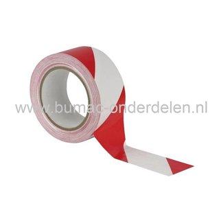Markeringsband Rood/Wit voor het Afzetten of Markeren van bijv verboden of gevaarlijke plaatsen, of om verkeer te leiden naar parkeerruimtes en op de openbare weg