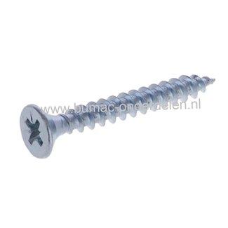 Cilindrisch Verzonken plaatschroef, 3x30 mm Verzinkt, met kruisgleuf, Draaddiameter 3 mm, Lengte 30 mm, Kruiskop maat 1 DIN 7982 Platkop Houtschroef