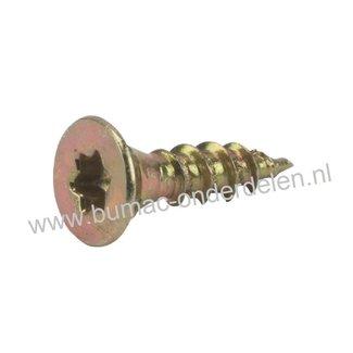 Spaanplaatschroef 3x16 mm Torxkop geel verzinkt, met speciale snijpunt, dubbele verzonken platkop voorzien van freesribben, met aangebrachte waslaag, Torx maat 10, DIN 7962