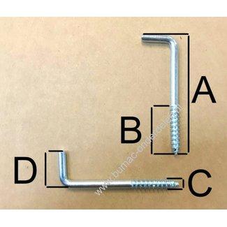 Schroefhaak 49x4,5 mm voor bevestiging in hout of steen in combinatie met een nylon plug, voor het ophangen van klokken, spiegels, schilderijen, lampen, gereedschap Schroefduim met Houtschroefdraad