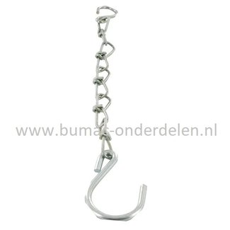 Klephaak ketting verzinkt 25 cm, Aanhangwagen Klepsluiting losse Borghaak / Klephaak met gegalvaniseerde ketting , Veiligheidsketting voor beugelsluitingen