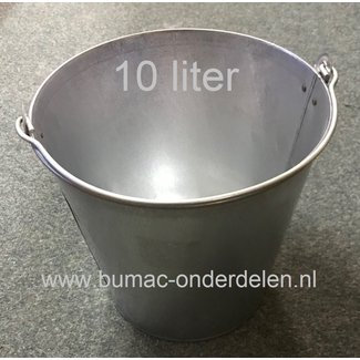 Verzinkte emmer met versterkte bodemrand, 10 L, voorzien van sterk metalen hengsel voor het dragen van de emmer, wateremmer, voeremmer, asemmer, decoratie emmer, afvalemmer, tuinemmer, afvaltuinemmer, minivijver