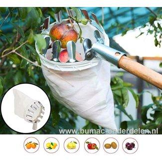 Praktische fruitplukker voor het oogsten op hoogte en zonder ladder - ideaal voor het voorzichtig en effectief verzamelen van noten, appels, peren, kersen, pruimen en vele andere fruitsoorten. Met een sterke linnen zak om sinaasappels, perziken, grotere m