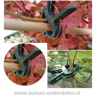 Plantenclip mix-set, 10x plantenclip klein, 10x plantenclip groot. De Plantenclip is een speciaal ontworpen clip wanneer je groenten, bloemen, klimmende en kruipende planten of kleine bomen bij elkaar wilt houden, om te beschermen tegen weersinvloeden, wi