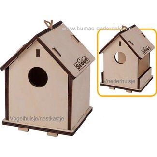 2 in 1 Voederhuis &  nestkastje, Dit vogelhuisje is het hele jaar door te gebruiken. In de lente en zomer kun je het vogelhuisje gebruiken als nestkastje, in de herfst en winter bouw je hem gemakkelijk om naar een voederrhuisje. 14,5 x 15,5 x 19,5 cm (L x