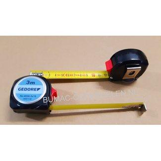 Stalen Rolmaat  3m x 16mm met Bevestigingsclip en Terugloopstop Maten in Millimeters Centimeter, Rolbandmaat, Meetlint, Maatlint