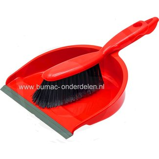 Set stoffer en veegblik van rood kunststof met ophangoog,  veegblik verdiept en met lip.