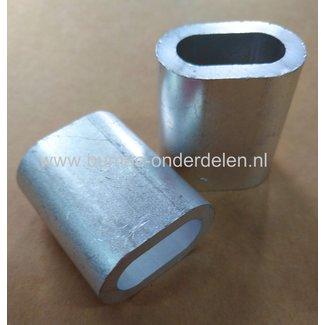 Staalkabel Pershuls 12 mm Pershuls voor lierkabel, aluminium Draadklem 12mm aluminium Aluminium is zachter dan staal.  Door de persklem samen te klemmen smelt het aluminium om de kabel heen en is deze niet meer los te trekken. Bij pershulzen word altijd d