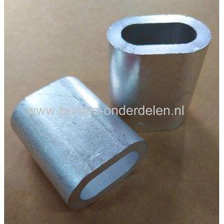 Staalkabel Pershuls 5  mm Pershuls voor lierkabel, aluminium Draadklem  5 mm aluminium Aluminium is zachter dan staal.  Door de persklem samen te klemmen smelt het aluminium om de kabel heen en is deze niet meer los te trekken. Bij pershulzen word altijd