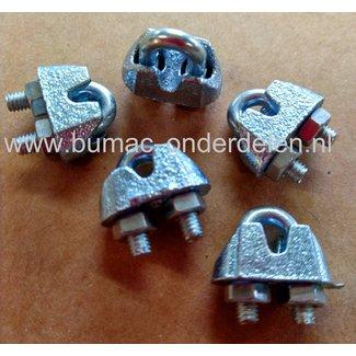 Draadklem voor max 4 mm met moeren  verzinkt .Staaldraadklem voor het bevestigen van staaldraad  De draadklemmen met moeren zijn ideaal voor het bevestigen van verzinkte staalkabel en rvs staalkabel.