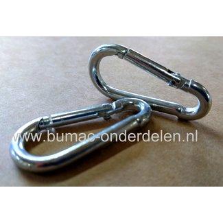 Karabijnhaak 8x82 mm verzinkt Karabijnhaken of festonhaken kunnen makkelijk bevestigd worden en weer losgemaakt worden Schalmkettingen, Staalkabels, Touw,  Bergsport Hondensport Paardensport